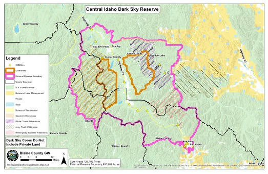 Dark Sky map - Idaho Conservation Dark Sky Map on